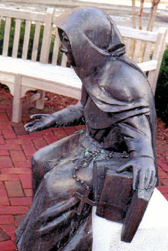 SSND Foundress, plaza sculpture, College of Notre Dame of Maryland